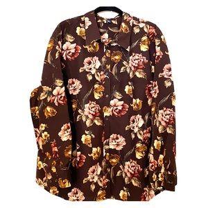 CHAPS 3X Warm Floral Shirt Top Blouse Plus Curvy